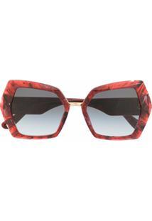 Dolce & Gabbana Eyewear Óculos De Sol Monogramada Dg - Vermelho