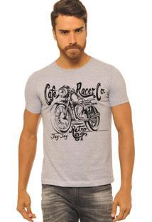 Camiseta Masculina Jay Jay Cafe Racer Cinza Mescla