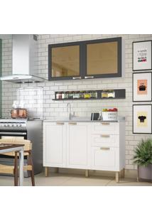 Cozinha Completa 3 Peças Americana Multimóveis 5921 Branco/Grafite