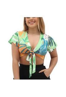 Blusa Cropped De Amarrar Na Frente - Estampado Laranja Verão