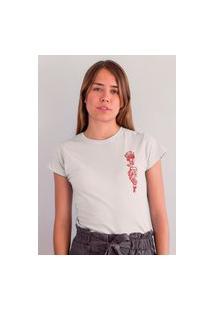 Camiseta Feminina Mirat Flor Na Mão Branco