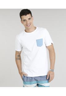 Camiseta Masculina Com Bolso Estampado Chevron Manga Curta Gola Careca Off White
