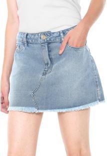 8a7d5c133d ... Saia Jeans Coca-Cola Jeans Curta Recortes Azul