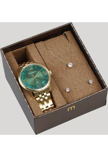 Kit De Relógio Analógico Mondaine Feminino + Brinco + Colar - 53715Lpmvde1K Dourado