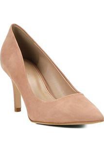 Scarpin Shoestock Nobuck Salto Médio Bico Fino - Feminino-Nude
