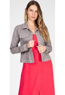 Jaqueta Color Bloom Em Sarja Com Elastano Cor Granito