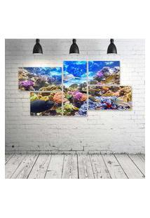 Quadro Decorativo - Underwater-World-Corals-Fish-Animals - Composto De 5 Quadros