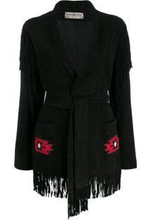 Jessie Western Fringed Wrap Jacket - Preto