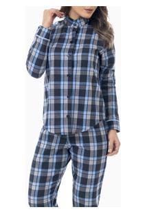 Pijama Longo Flanelado Gola Padre Laibel (15.009662) 100% Algodão