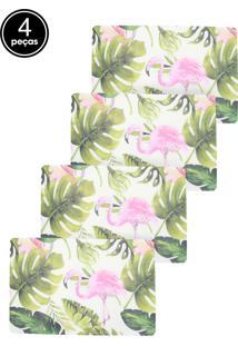 Kit Jogo Americano 4 Pçs Lyor Flamingo 43,5X28,5Cm