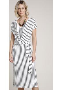 Vestido Feminino Midi Listrado Com Faixa Para Amarrar Manga Curta Branco