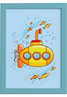 Quadro Infantil Submarino Amarelo Moldura Azul 22X32Cm