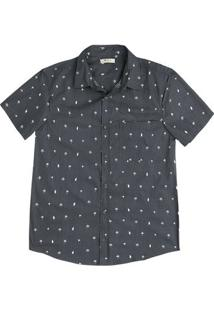Camisa Masculina Manga Curta De Algodão Com Estampa