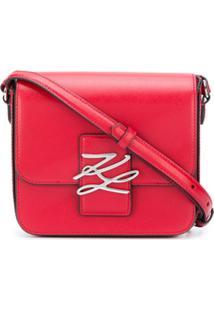 Karl Lagerfeld Bolsa Transversal Com Placa De Logo - Vermelho