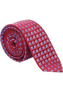 Gravata Maquinetada Abstrata - Vermelha & Azul - 5X1Dudalina