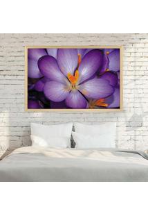 Quadro Love Decor Com Moldura Violetas Madeira Clara Médio