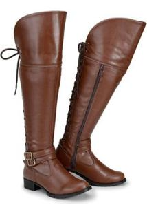 Bota Over The Knee Cano Alto Feminina - Feminino-Marrom