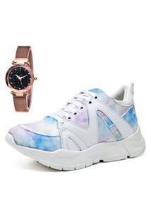 Tênis Sapatênis Plataforma Fashion City Com Relógio Gold Feminino Juilli 736Li Colorido