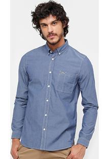 Camisa Jeans Lacoste Regular Fit Com Bolso Masculina - Masculino