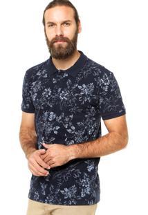 Camisa Polo Colcci Floral Azul-Marinho