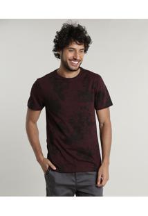 Camiseta Masculina Slim Fit Estampada Floral Manga Curta Gola Careca Vinho
