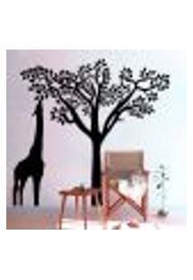 Adesivo De Parede Árvore Com Girafa - G 72X68Cm
