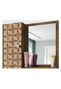Espelheira C/ Armário Gênova Madeira Rústica/3D Móveis Bechara