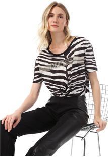 Camiseta Cropped Lança Perfume Zebra Aplicações Preta/Branca