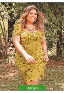 Vestido Estampado Com Mangas Amarelo