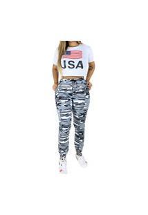 Calça Feminina Jogger Com Elástico Camuflada Exército Cinza Claro