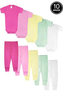 Kit 10Pçs Body Culote Zupt Baby Enxoval Pink/Rosa/Amarelo