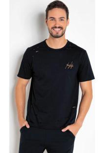 Camiseta Com Detalhes Destroyed E Bordado