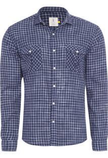 Camisa Masculina Hamê Xadrez - Azul