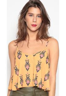 Blusa Cropped Floral- Amarelo Escuro Preto- Sommersommer