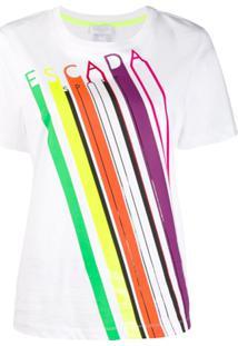 Escada Sport Camiseta Listrada Com Logo - Branco