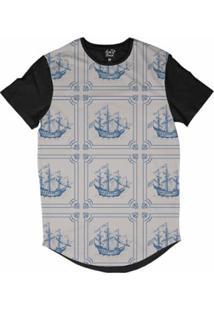 Camiseta Longline Long Beach Náutica Retrô Sublimada Masculina - Masculino-Bege