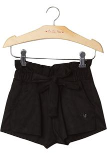 Shorts Le Lis Petit Suede Preto Feminino (Preto, 12)