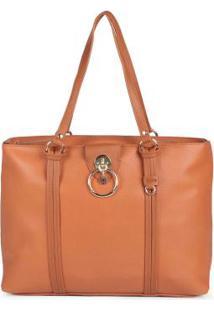 Bolsa Shopping Bag Feminina Recortes Caramelo Caramelo