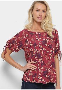 Blusa Maria Filó Floral Nevada Feminina - Feminino-Vermelho