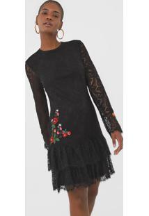 Vestido Desigual Curto Boreal Preto - Preto - Feminino - Poliamida - Dafiti