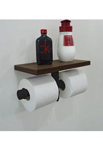 Porta Papel Higiênico Duplo Acessório Para Banheiro Papeleira Suporte De Parede Estilo Industrial - Preto Laca