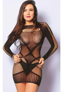 Mini Vestido Manga Longa Arrastão Y6132 Yaffa