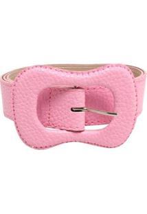 Cinto Birô Color Fivela Oval Feminina - Feminino-Rosa