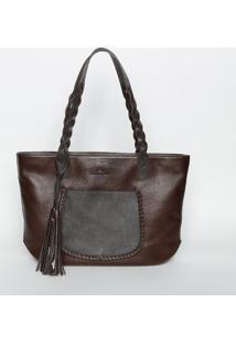 Bolsa Em Couro Com Tranças - Marrom Escuro - 26X40X7Edu Bolsas