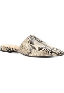 Mule Couro Shoestock Flat Snake - Feminino-Bege+Preto