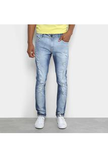 Calça Jeans Skinny Dimy Puídos Masculina - Masculino-Azul