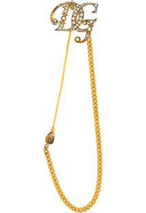 Dolce & Gabbana Broche Dg Com Corrente - Dourado