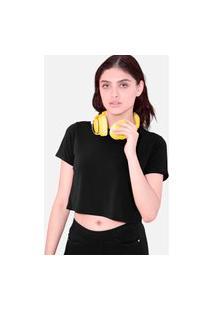 Camiseta Cropped Tsete Feminino Liso Preto