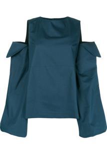 Rouge Margaux Blusa Com Recortes Vazados - Azul