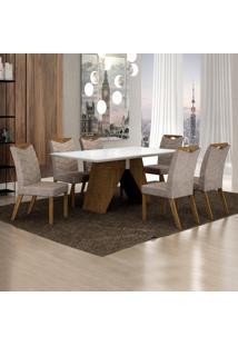 Conjunto Sala De Jantar Mesa Tampo De Vidro Branco 6 Cadeiras Verona Leifer Ypê/Off White/Pena Caramelo